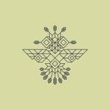 Owl Symbol tribal Símbolo adornado del búho en estilo tribal Elemento de la decoración del vintage Línea diseño del arte Elemento Imagenes de archivo
