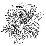 The Owl, Symbol Of Wisdom. Owl, holding a parchment and looking into eternity, surrounded with Laurel. Can be used as a coloring and tattoo. Inspired by the Stock Images