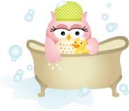 Owl Taking ett bad royaltyfri illustrationer