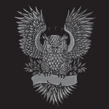 Owl Tattoo Grey Illustration royalty free illustration