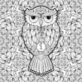Owl Tattoo Print or Coloring Page Vector Poster royalty free illustration