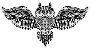 Owl in tattoo  style Stock Images