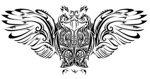 Owl tattoo. Vector illustration background Royalty Free Stock Images