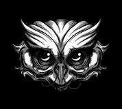 Owl Tattoo. Vector illustration of owl head tattoo royalty free illustration