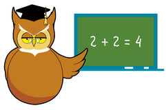 Owl teacher. Vector illustration Wise owl teaching Stock Illustration