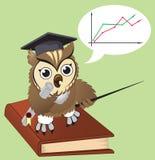 Owl teacher. Wise owl teacher - vector illustration Royalty Free Stock Images