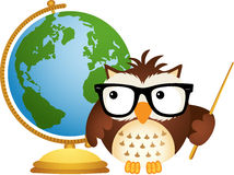 Owl Teacher avec le globe Images stock