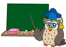 Owl teacher with blackboard Stock Image
