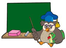 Owl teacher with book and blackboard Royalty Free Stock Photography