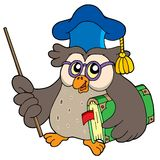 Owl teacher with book and pointer. Vector illustration Stock Image