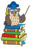 Owl teacher and books. Vector illustration Stock Images