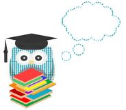 Owl teacher and books with vector speech bubble Royalty Free Stock Image