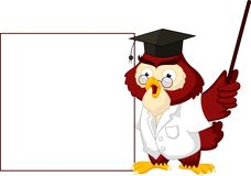 Owl teacher cartoon with blank sign Stock Image