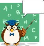 Owl Teacher Cartoon Character With saggio un fumetto e un fondo illustrazione di stock