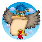 Owl teacher with diploma on sky Stock Photography
