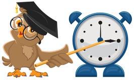 Owl teacher with glasses. Owl teacher shows pointer on the clock. Alarm clock Stock Photo