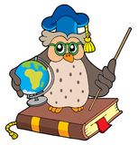 Owl teacher with globe. Vector illustration Stock Photos