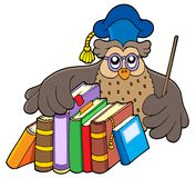 Owl teacher holding books Stock Photo