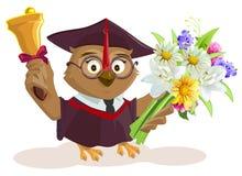 Owl teacher holding bouquet of flowers. School bell Stock Images