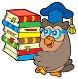 Owl teacher holding pile of books Stock Image