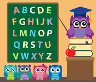 Owl teacher and owlets theme image 2 Royalty Free Stock Image