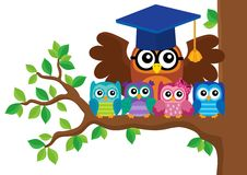 Owl teacher and owlets theme image 5 Stock Image
