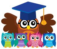 Owl teacher and owlets theme image 4 Royalty Free Stock Photography