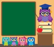 Owl teacher and owlets theme image 1 Stock Photos