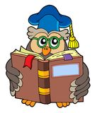 Owl teacher reading book Stock Photo