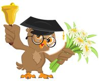 Owl teacher rings the bell and holding flowers Royalty Free Stock Photos