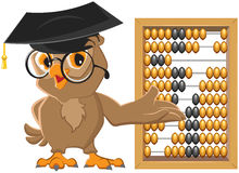 Owl teacher showing abacus Royalty Free Stock Images