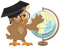 Owl teacher turns Globe Royalty Free Stock Images