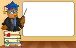 Owl teacher by whiteboard Stock Images