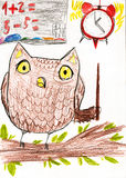 Owl teaches math. children drawing Royalty Free Stock Photos