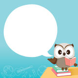 Owl Teaching On Table With Speech Bubble. World Book Day Back to school Educational Stationery Book Children Teaching Aid Objects Icons Royalty Free Stock Photography