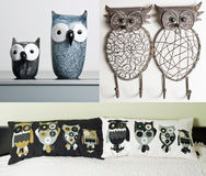 Owl themed interior elements Stock Images
