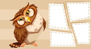 Owl themed note for writing. Illustration stock illustration