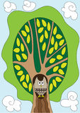 Owl in the tree. Illustration of nice owl in the fairy tree, cartoon Royalty Free Stock Images