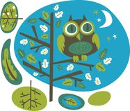 Owl on a tree. Cute owl on a tree,  illustration Stock Photo
