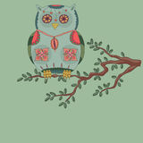 Owl on a tree. Hand drawn illustration Royalty Free Stock Photography