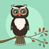 Owl tree. Owl on tree branch with leaves vector illustration stock illustration