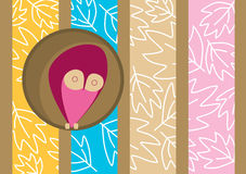 Owl on tree hole greeting card Royalty Free Stock Photos
