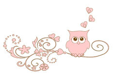 Owl on tree. Illustration lovley owl  on tree Royalty Free Stock Image