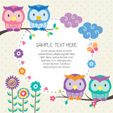 Owl on tree layout design. Vector file. It can be scaled to any sizes without losing resolution stock illustration