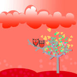 Owl and tree leaves heart. Two owl on tree leaves heart red background Royalty Free Stock Image