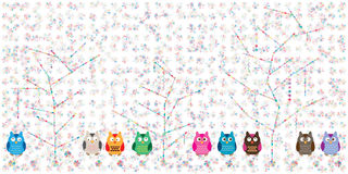 Owl tree love banner Stock Photography