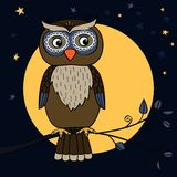 Owl tree moon. Owl on tree branch at moon night with stars vector illustration Royalty Free Stock Photos