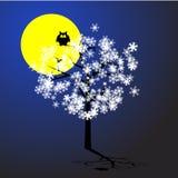 Owl Tree Moon Snow Vector Stock Photo