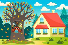 Owl tree near house Stock Photography