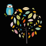 Owl on Tree. Night Scene with Owl Royalty Free Stock Images